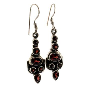 Red Garnet Earrings Sterling Silver Jewelry Semi-Prescious Gemstone Faceted