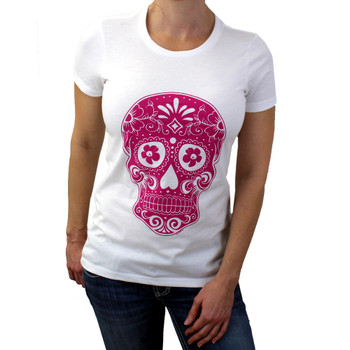 Hot pink Day of the Day sugar skull on white shirt.