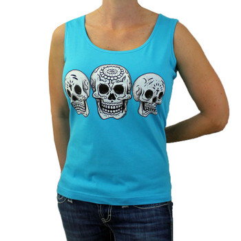 Three Day of the Dead on turquoise tank top.