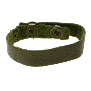 Green leather cuff bracelet.