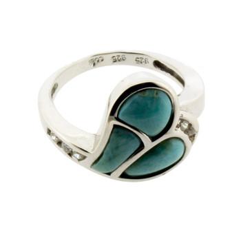 Sterling Silver Larimar CZ Ring Heart Design