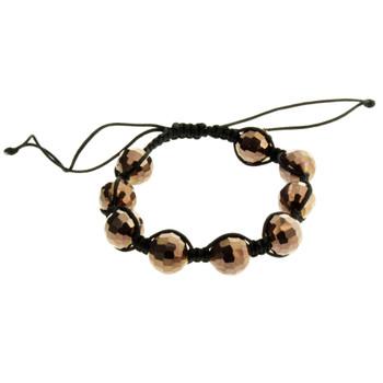 Shamballa Style Bracelet Brown Disco Ball Beads Sparkle Mirrored Shiny