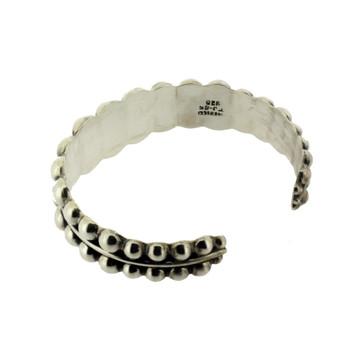 Sterling silver cuff bracelet.