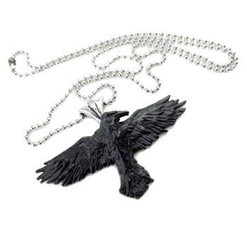 Alchemy Metal Wear P193 Black Raven Pendant