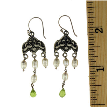 Chandelier style Pearl and Peridot earrings.