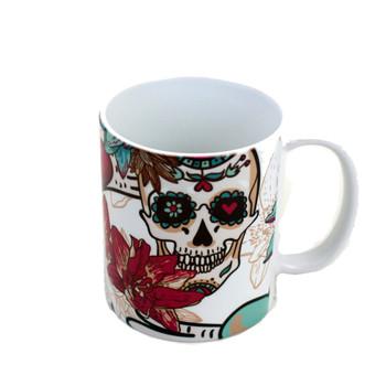 11 oz. Coffee mug with sugar skulls, hearts and flowers.