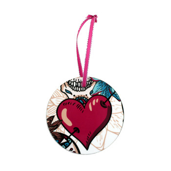 Sugar Skull Ornament heart side