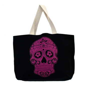 Large black tote with Day of the dead skull front side.