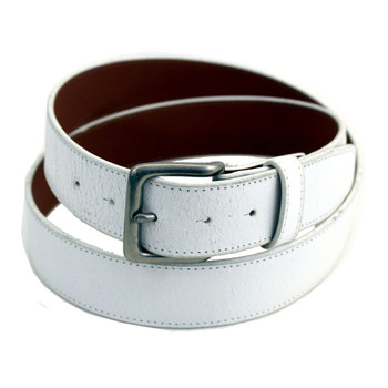 White leather belt.