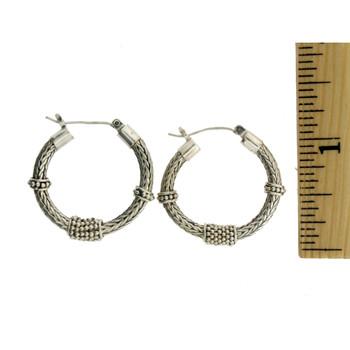 Sterling Silver Herringbone Bali Design Hoop Earrings
