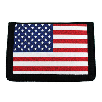 American Flag Trifold Nylon Wallet with Velcro
