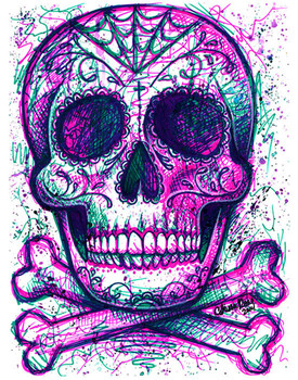 Carissa Rose Neon Death Sugar Skull Canvas Giclee