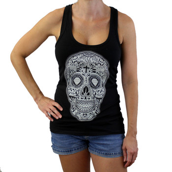 Sugar skull on black racerback tank top.