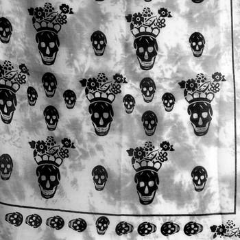 Gray tie dye skull scarf
