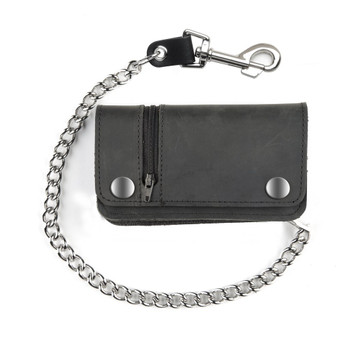 Black biker wallet with zipper.