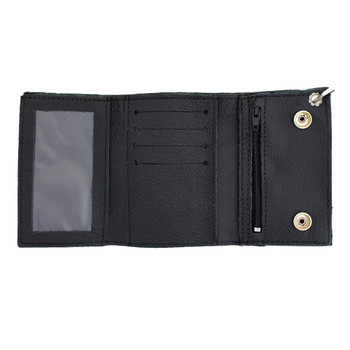 Men's Wallet Black Genuine Leather Basket Weave Chain Tri-Fold