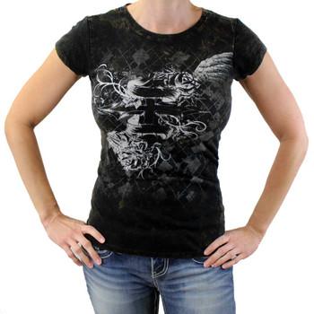 Cross and wings tee shirt.