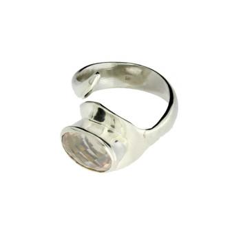 Rose Quartz silver ring.