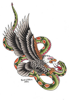 Rick Walters Snake & Eagle Canvas Giclee