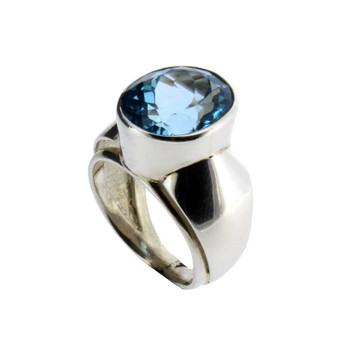 Blue Topaz sterling silver ring.