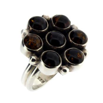 Dark brown Amber silver ring.