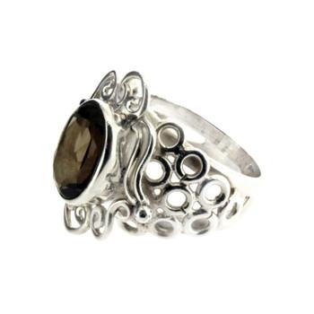 Smoky Quartz sterling silver ring.