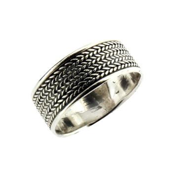 Sterling silver herringbone ring.