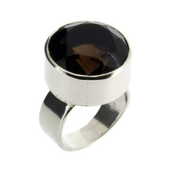 Smoky Quartz silver ring.