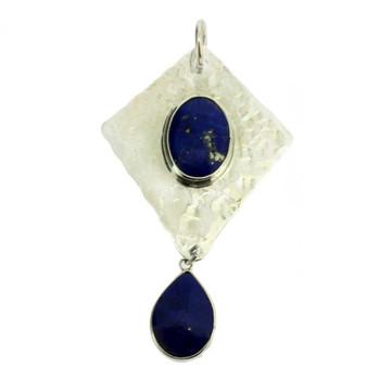 Blue Lapis sterling silver handmade pendant.