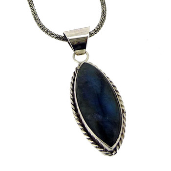 Marquise Shaped Labradorite Pendant Sterling Silver Blue Gray Necklace Jewelry