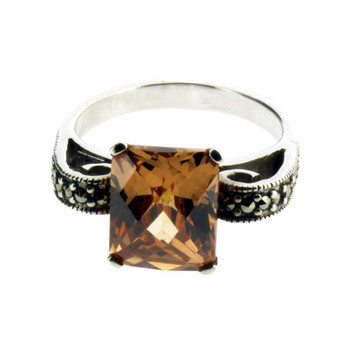 CZ Marcasite sterling silver ring.