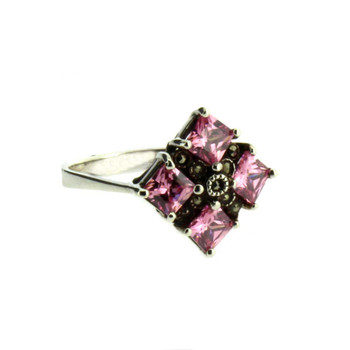 Pink CZ Marcasite sterling silver.