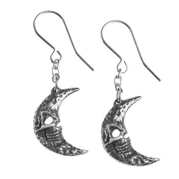 Alchemy Gothic - E385 - Crescent Tragicom Moon Earrings