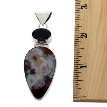 Handmade sterling silver Jasper and Garnet pendant.