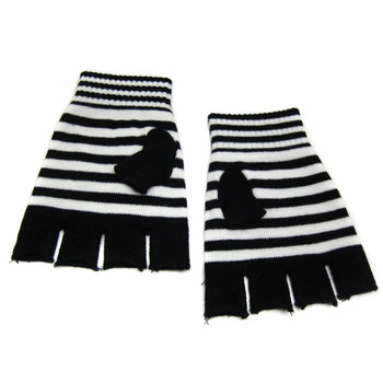 Knitted Girly Skull & Crossbones Fingerless Gloves