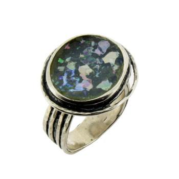 Roman glass sterling silver ring.
