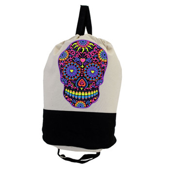 Sturdy Natural & Black Duffel Bag Drawstring Backpack Sack with Bright Colorful Day of the Dead Design