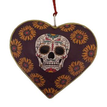 Backside of Fiesta sugar skull day of the dead heart Christmas ornament.