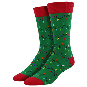 Men's Crew Socks Holiday Christmas Lights Green