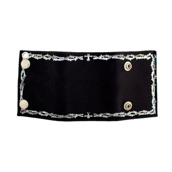 Barbed Wire Design Men's Biker Black Leather Chain Wallet Trifold Billfold