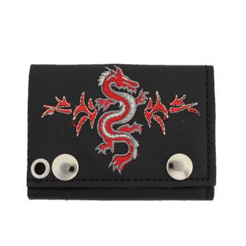 Men's Biker Black Leather Chain Wallet Tri-Fold Embroidered Dragon Design