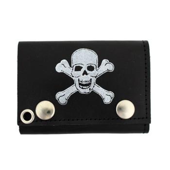 Skull & Crossbones Men's Biker Black Leather Chain Wallet Trifold Billfold