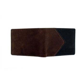Brown and Black Men's Bi-Fold Genuine Leather Wallet Billfold