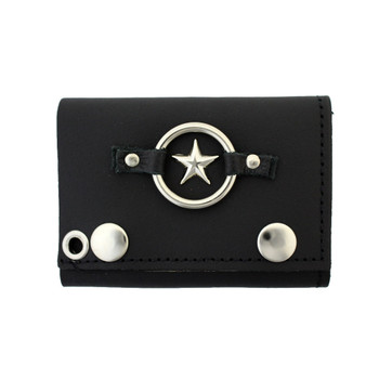 Men's Black Leather Wallet Chain Biker Trifold with Star Emblem