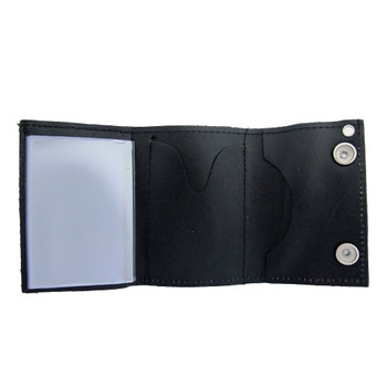 Men's Black Leather Wallet Chain Biker Trifold with Star Emblem inside view.