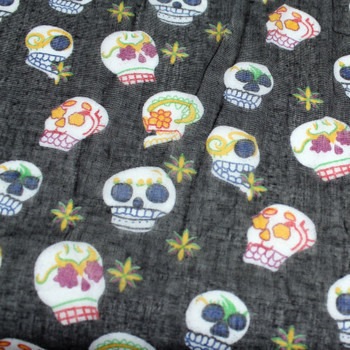 Black Scarf  or Sarong with Small Day of the Dead Skulls Design