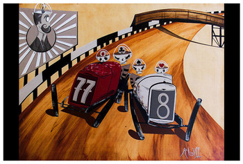 The Four Suits by Mcbiff Fine Art Print Retro Hot Rod Board Track Racers