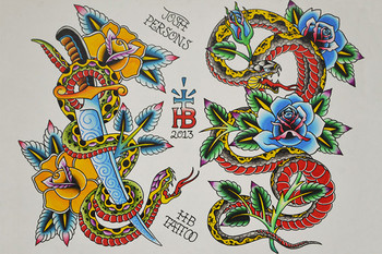 Snake Flash by Josh Persons Traditional Style Tattoo Fine Art Print