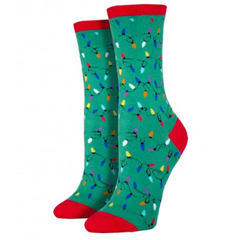 Women's Crew Socks Holiday Christmas Lights Green