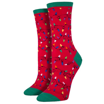 Women's Crew Socks Holiday Christmas Lights Red